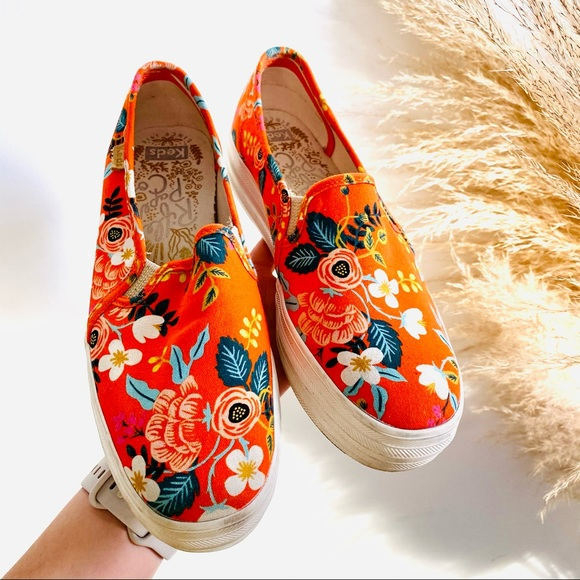 KEDS x Rifle Orange Floral Platform Sneakers Shoes